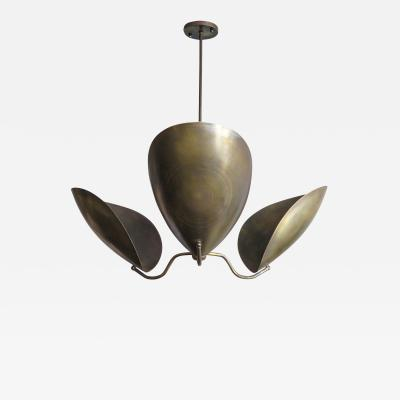 Gallery L7 Three Arm Raw Brass Chandelier Chiton by Gallery L7