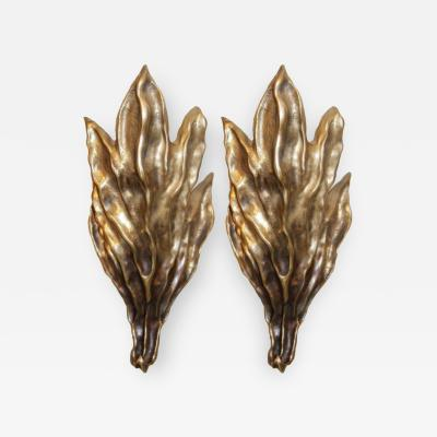 Garouste Bonetti Pair of Signed Garouste Bonetti Cast Bronze Sconces