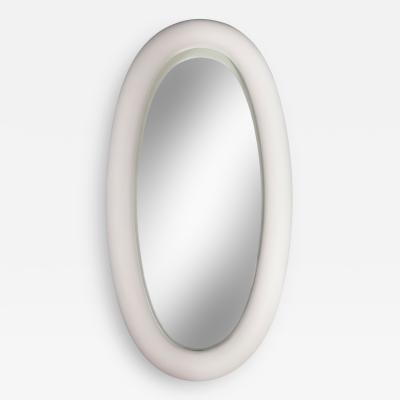 Garouste and Bonetti A Monumental and Unique White Plaster Elliptical Mirror
