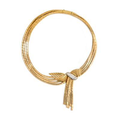 Garrard Co Garrard London 1940s Gold Necklace with Detachable Gold and Diamond Brooch