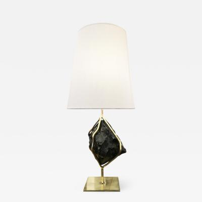 Gaspare Asaro Obsidian and Brass Table Lamp by Gaspare Asaro