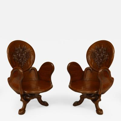 Gaudi 3 Pair of Art Nouveau 19 20 Cent Teak Armchairs
