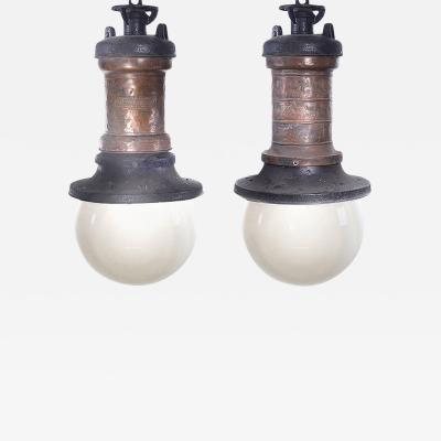 General Electric Pair of Rustic Copper GE Street Lamps with Large Milk Glass Globes
