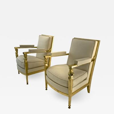 Genes Babut Genes Babut French 40s gorgeous pair of gold leaf chairs