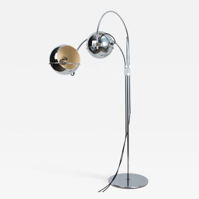 Gepo Dutch Chrome Floor Lamp from Gepo Double Eye Ball 1960s