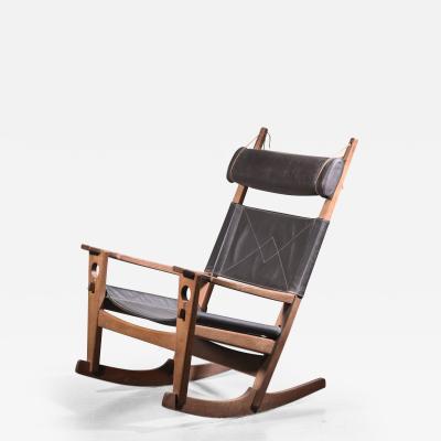 Getama Hans Wegner keyhole rocking chair with original brown leather