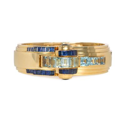 Ghis Ghiso 1940s Gold Sapphire and Aquamarine Bracelet Watch France