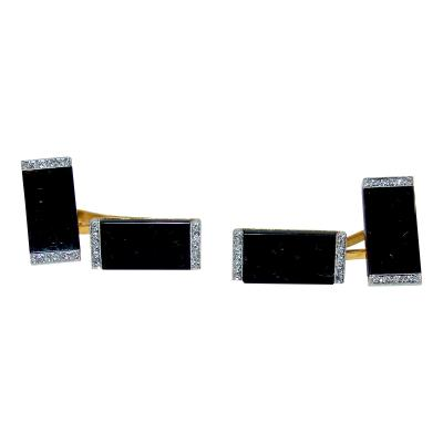 Ghis Ghiso Art Deco Onyx and Diamond Cufflinks