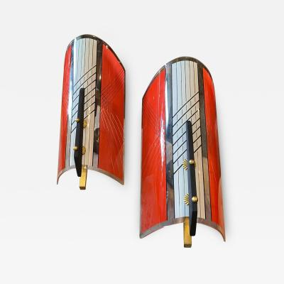 Gilardi Barzaghi 1960s Set of Two Mid Century Modern Gilardi Barzaghi Wall Sconces