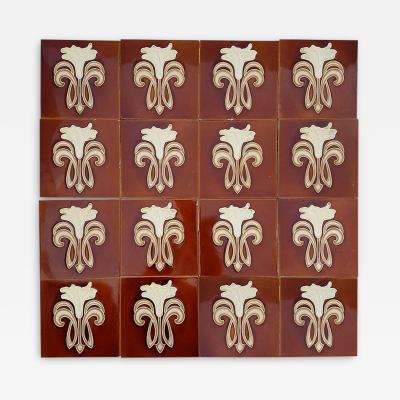 Gilliot 30 Art Jugendstil Ceramic Tiles by Gilliot Fabrieken Te Hemiksem circa 1920