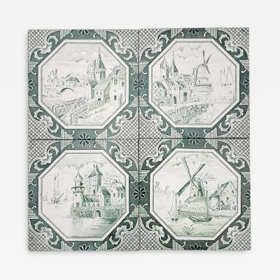 Gilliot Set of 4 of Ceramic Tiles by Gilliot Total 200 Tiles 1930