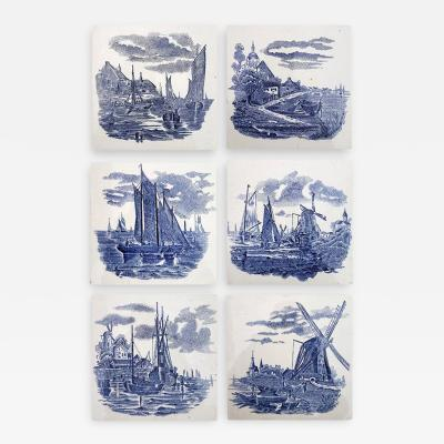 Gilliot Set of 6 of Total 120 Dutch Blue Ceramic Tiles by Gilliot Hemiksen 1930s