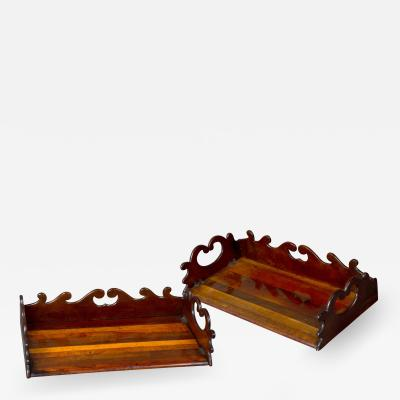 Gillows of Lancaster London A Fine and Rare Pair of Specimen Wood Book Trays Attributed to Gillows