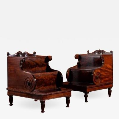 Gillows of Lancaster London A PAIR OF REGENCY MAHOGANY LIBRARY STEPS CIRCA 1815 IN THE MANNER OF GILLOWS