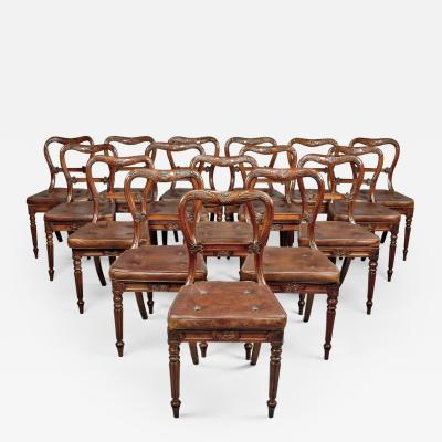 Gillows of Lancaster London A Set of Eighteen Red Walnut Dining Chairs