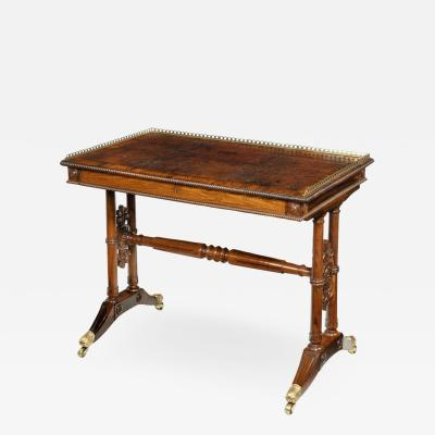 Gillows of Lancaster London A William IV rosewood free standing end support table attributed to Gillows