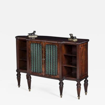 Gillows of Lancaster London Antique English Regency Period Mahogany Breakfront Cabinet Bookcase