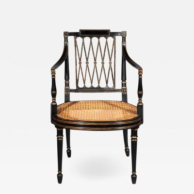 Gillows of Lancaster London Antique Georgian Regency Black Painted and Gilded Armchair circa 1795
