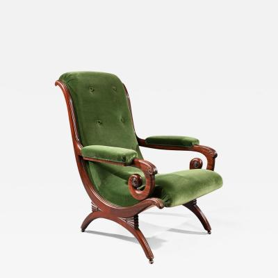 Gillows of Lancaster London GILLOWS REGENCY MAHOGANY AND GREEN VELVET SPANISH ARMCHAIR