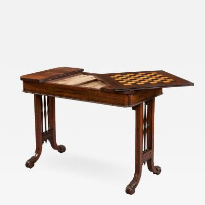 Gillows of Lancaster London George IV Period Games Table Attributed to Gillows of Lancaster