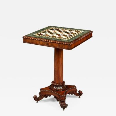 Gillows of Lancaster London Georgian Period Marble Top Games Table by Gillows of Lancaster