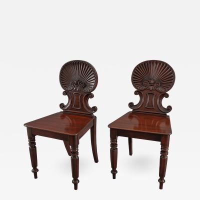Gillows of Lancaster London Gillows Pair of Regency Shell Back Hall Chairs