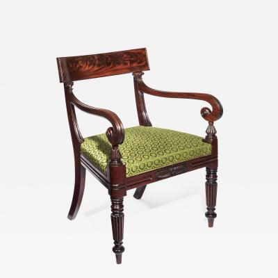Gillows of Lancaster London Large Regency Klismos Desk Chair in Green Horsehair Fabric