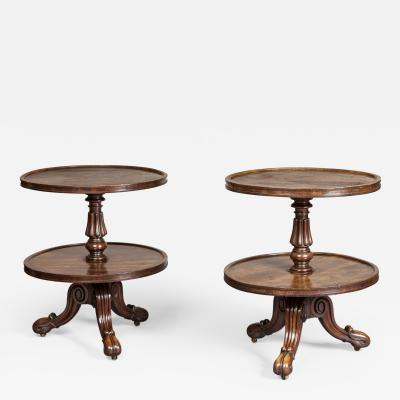 Gillows of Lancaster London Pair Low Mahogany Circular Sidetables Dumb Waiters