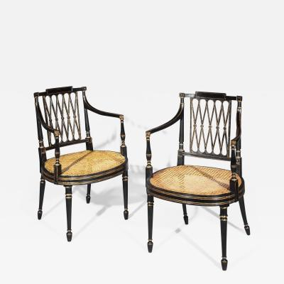 Gillows of Lancaster London Pair of 18th Century George III Black Painted and Gilt Armchairs