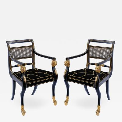 Gillows of Lancaster London Pair of Early 19th Century English Parcel Gilt Armchairs by Gillows