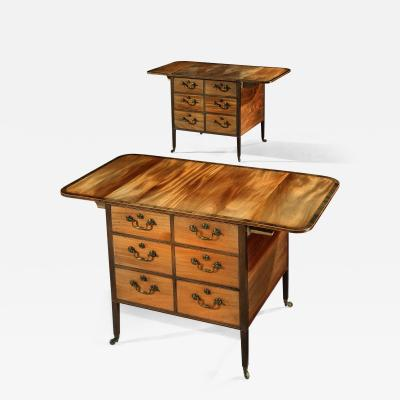 Gillows of Lancaster London Pair of George 111 Mahogany Freestanding Library Pemroke Sidetables