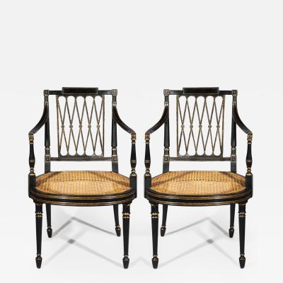 Gillows of Lancaster London Pair of George III Regency Black and Gold Painted Armchairs