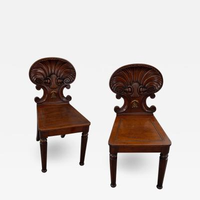 Gillows of Lancaster London Pair of Gillows Shell Back Hall Chairs for George Sandeman