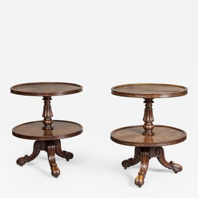 Gillows of Lancaster London Pair of Low Regency Period Mahogany SideTables Dumb Waiters