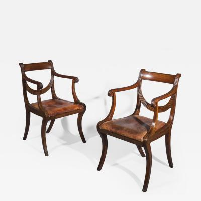 Gillows of Lancaster London Pair of Neoclassical Regency Klismos Armchairs