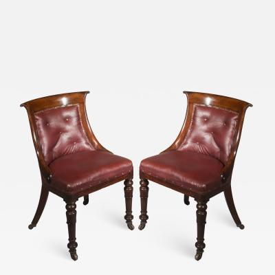 Gillows of Lancaster London Pair of Regency Gondola Tub Chairs in Old Burgundy Leather