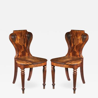 Gillows of Lancaster London Pair of Regency Hall Chairs