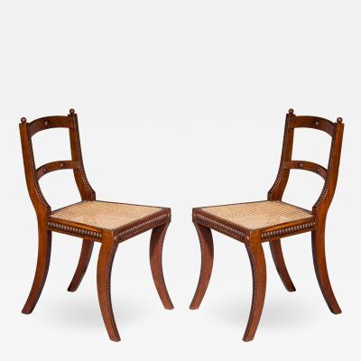 Gillows of Lancaster London Pair of Regency Klismos Chairs with Beaded Decoration