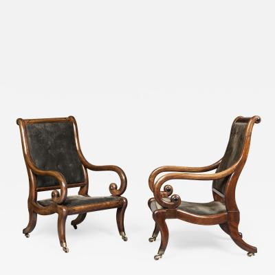 Gillows of Lancaster London Pair of Regency Period Mahogany Library Armchairs