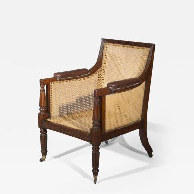 Gillows of Lancaster London Regency Mahogany Library Desk Armchair attributed to Gillows
