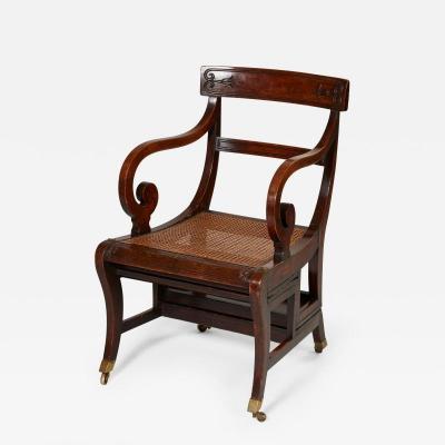 Gillows of Lancaster London Regency Metamorphic Library Chair Steps