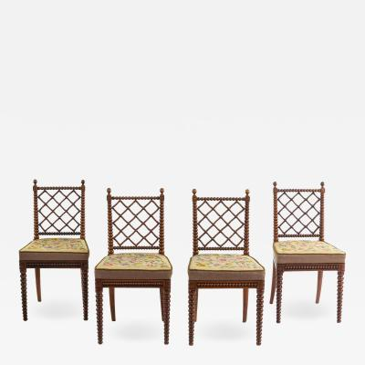 Gillows of Lancaster London Regency Oak Bobbin Chairs Attributed to Gillows Set of Four