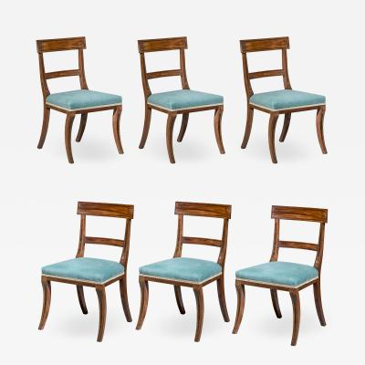 Gillows of Lancaster London Set of Six Regency Klismos Dining Chairs with Greek Key decoration