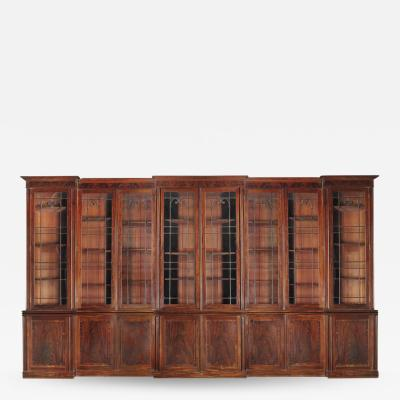 Gillows of Lancaster London Very Large Regency Period Triple Breakfront Mahogany Bookcase