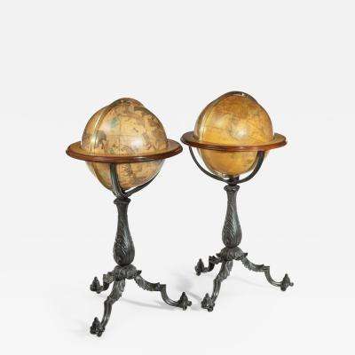 Gilman Joslin A Pair of 16 inch floor standing globes by Gilman Joslin