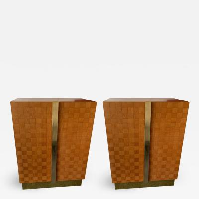 Giorgetti Pair of Wood and Brass Cabinets by Giorgetti Italy 1980s