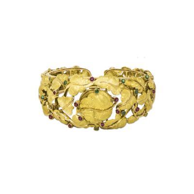 26ab8dda274 Girard Perregaux Rare Girard Perregaux Italian 18kt Emerald Ruby Fig Leaf  Concealed Bangle Watch