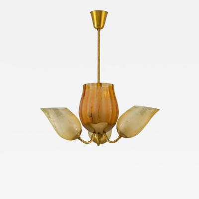 Gl ssner Swedish Modern Chandelier in Brass and Glass by Gl ssner