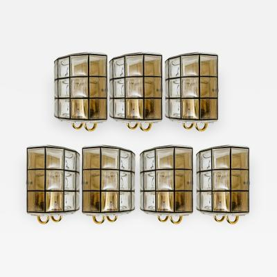 Glash tte Limburg 1 of the 7 of Iron and Bubble Glass Sconces Wall Lamps by Limburg Germany 1960