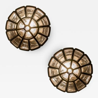Glash tte Limburg A Pair of Octagonal Glass Flush Mounts Wall Lights by Limburg Glasshutte
